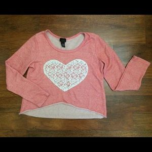 3 for $20 heart print cropped sweater